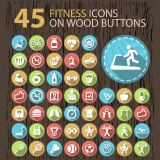 45 Fitness Icons with Long Shadow on Wood Buttons of health and Sports for Your Website(Free Download Illustrations)