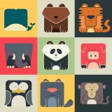 Cartoon Animal Set Vector Flat Icon Set (Free Download Illustrations)