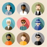 Male Faces Icons with Long Shadow Vector Stock Set Illustrations (Free Download Illustrations)