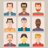 Nine Avatars Flat Icons Vector Stock Set Illustrations (Free Download Illustrations)