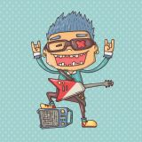 Rock Music Character Vector Stock Set Illustrations (Free Download Illustrations)