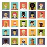 Smile Faces Icons in Different Skin Colours Flat Vector Stock Set Illustrations (Free Download Illustrations)