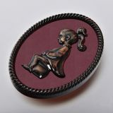 Female, Funny Plating Toilet Sign, Restroom Wall Door Plaque, Bronze Frame, ABS Plastic