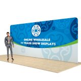 20ft Straight Back Wall Display with Custom Fabric Graphic