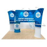 10ft Curved Portable Fabric Tension Exhibition Display Kits with Custom Graphic