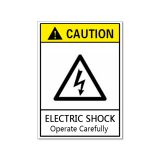 Waterproof Danger Sign-Electric Shock, Operate Carefully, Safety Sticker 60x90mm