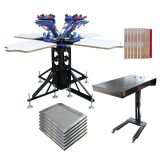 4 Color Screen Printing Press Kit Machine 4 Station Flash Dryer Stretched Frame