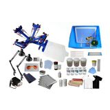 4 Color Silk Screen Printing Kit Press Printer & Full Materials Package Supply