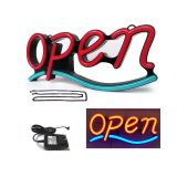 "Demo ""OPEN"" Animated 21""x 9"" LED Neon Sign with Hanging Chain-Red & Blue"