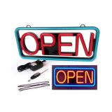 "US Stock-21""x 10"" Lighted LED ""OPEN"" Neon Sign Rectangular-Red & Blue"