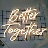 Qomolangma Warm white Better Together Neon Sign Size23.5x10inches+17.3 x8.7inches