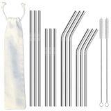 12pcs Reusable Stainless Steel Metal Straws for 30 oz and 20 oz Tumblers - 2 Cleaning Brushes Included