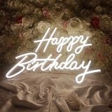 US Stock Qomolangma Happy Birthday Neon Sign for Any Age, Size- 16.5 X 8.3inches+23 X 8inches