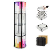 """81"""" Round Portable Aluminum Spiral Tower Display Case with Shelves, Top Light and Clear Panels"""