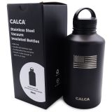 US Stock-CALCA 64oz Baseball Logo Wide Mouth Lid Stainless Steel Water Bottle with Double Wall Vacuum Insulated-Travel Cup