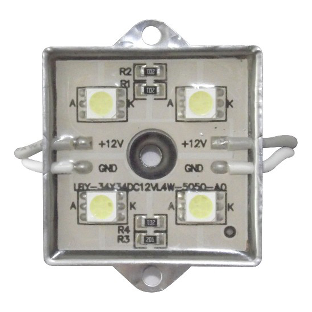 SMD 5050 Waterproof LED Module (4 LEDs, Metal Shell, 0.96W, L35 x W35mm) for Illuminate Signs