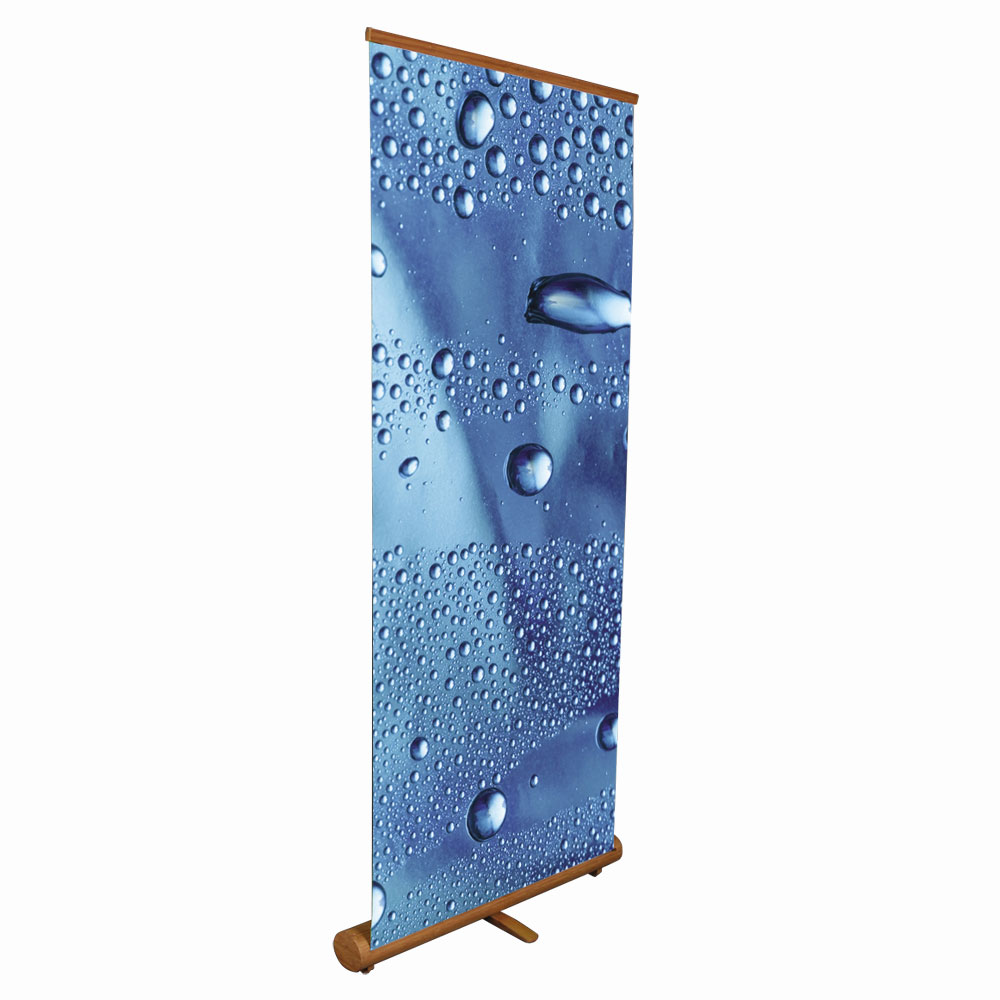 """Elliptical Roll Up Bamboo Banner Stand Display– 33.5"""" x 78.7"""" (85 x 200cm)"""