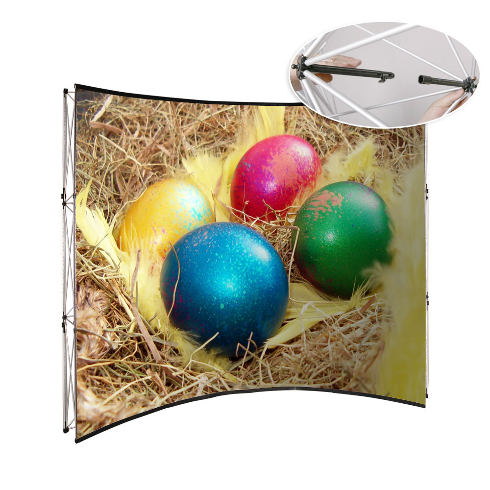 8ft Curved Pop Up Display Stand Backdrop Banner Wall For Advertising (Graphic Included)