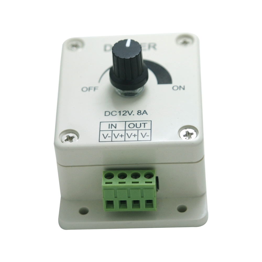 Freeshipping Led Dimmer 12V 8A No-level Manual Dimming Controller for Single Color Led Strip