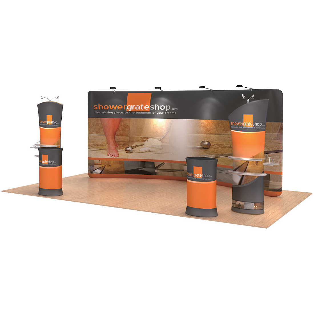 17ft Curved Portable Fabric Tension Exhibition Display Kits with Custom Graphic