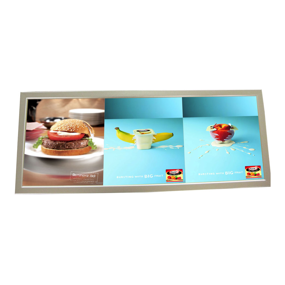 """13.7"""" x 37.4"""" Aluminum Frame Pictures Motion LED Super Slim Light Box with 3 Pictures (With Printing)"""