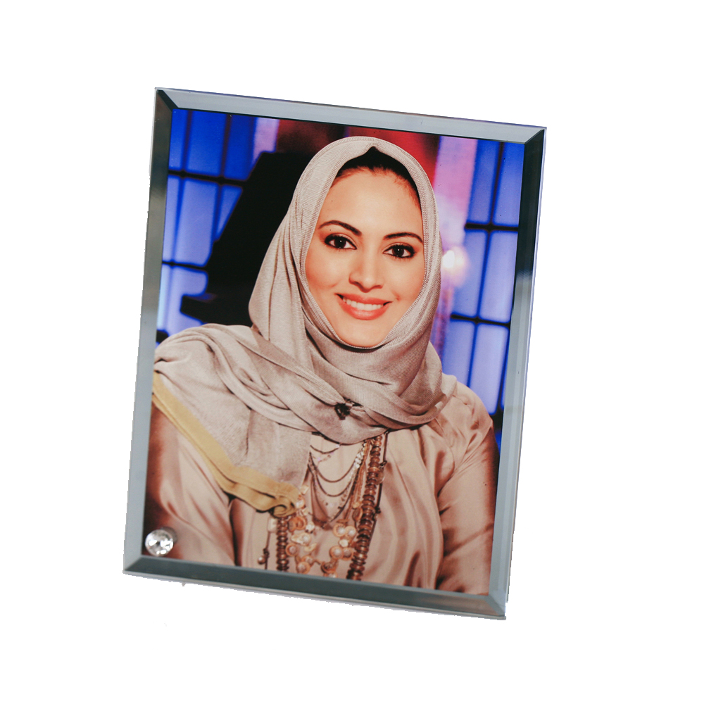 """9"""" x 7"""" Sublimation Blank Glass Photo Frame with Outer Mirror Border"""