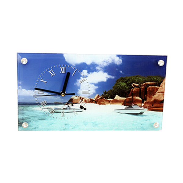 """11.8"""" x 6.3"""" Sublimation Blank Glass Photo Frame with Glossy Clock"""