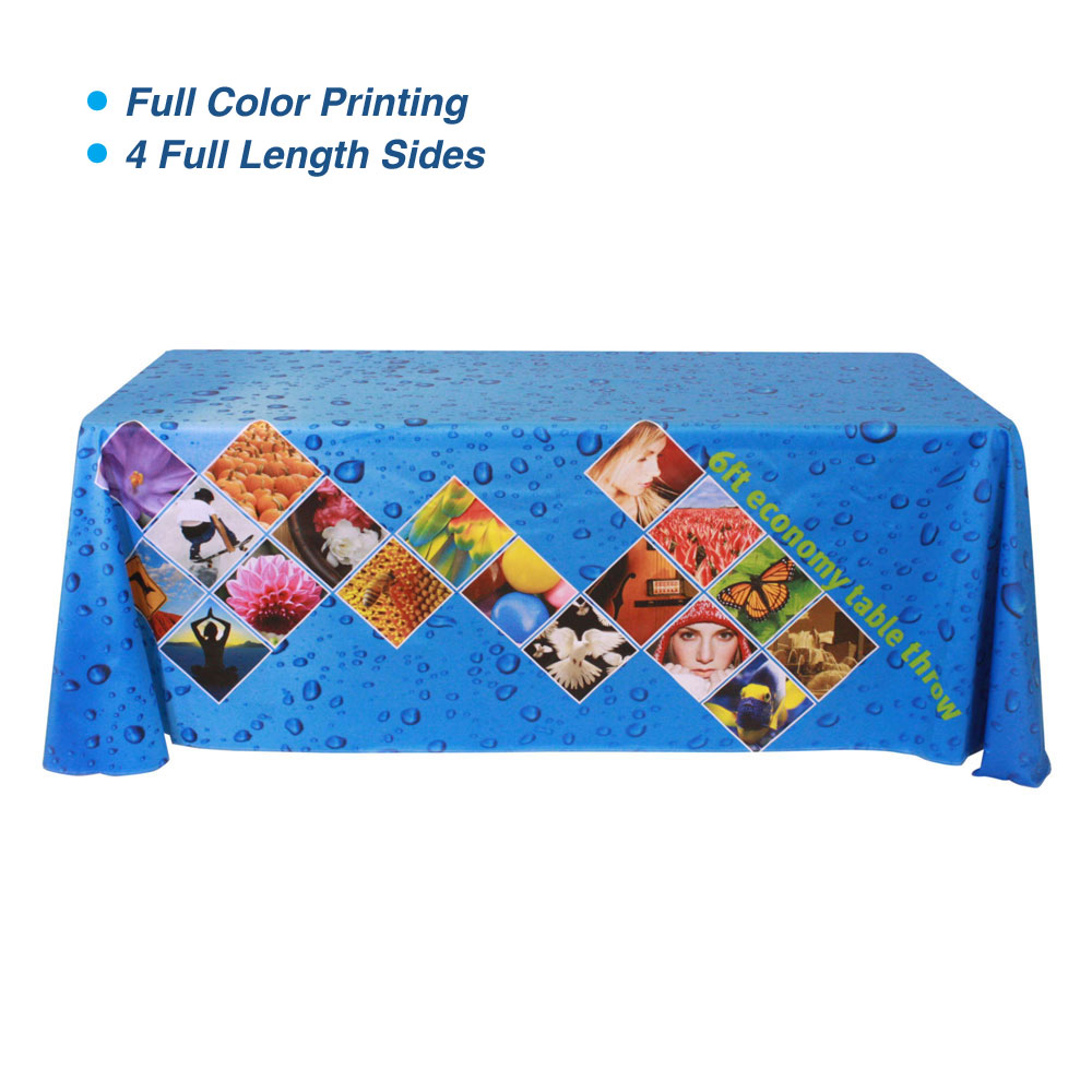 6ft Table Throws with Custom Dye-sublimation Full Color Printing (Rounded Corners)