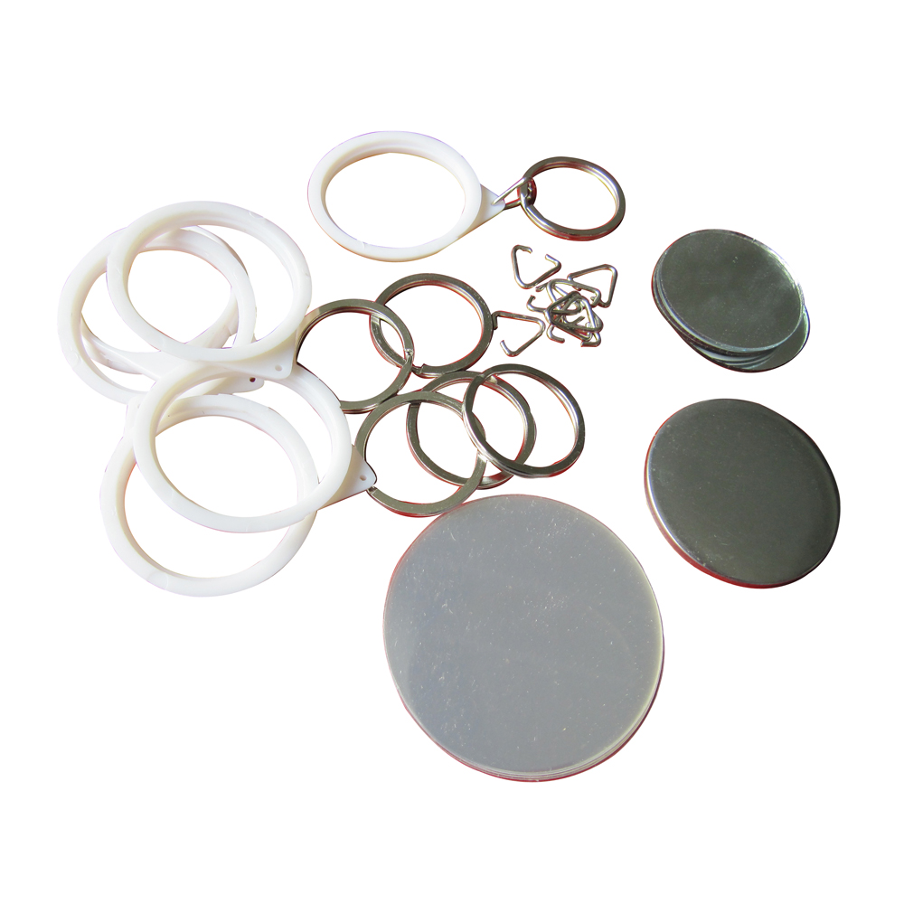 1000pcs Blank 44mm Mirror Button with Key-Chain Supplies