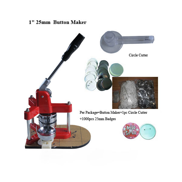 "1"" 25mm New Triangle Badge Press Button Maker Machine +1000pcs Button Supplies+1pc 25mm Circle Cutter"