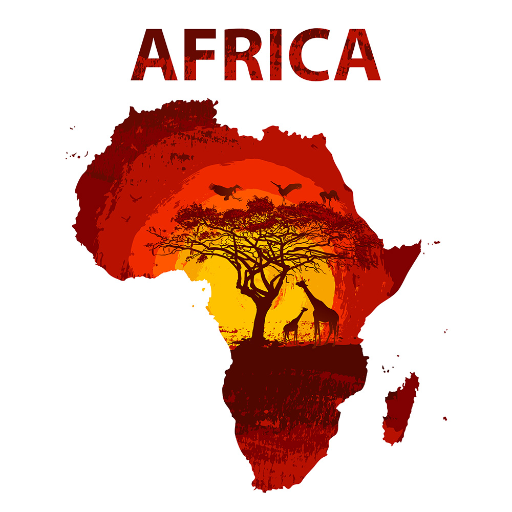 Animals and Sunset Land of Africa Map Vector Poster (Free Download Illustrations)