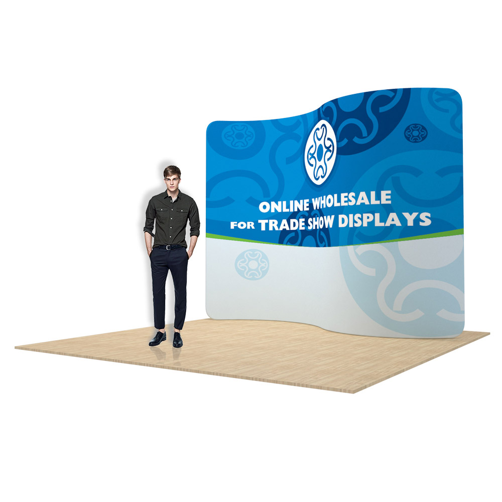 10ft Serpentine Back Wall Display with Custom Fabric Graphic(Graphic Included/Single Sided)