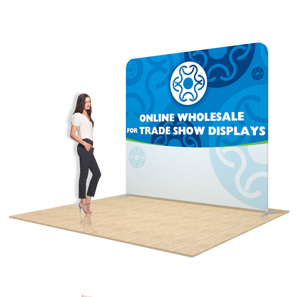 8ft Straight Back Wall Display with Custom Fabric Graphic(Graphic Included/Double Sided)