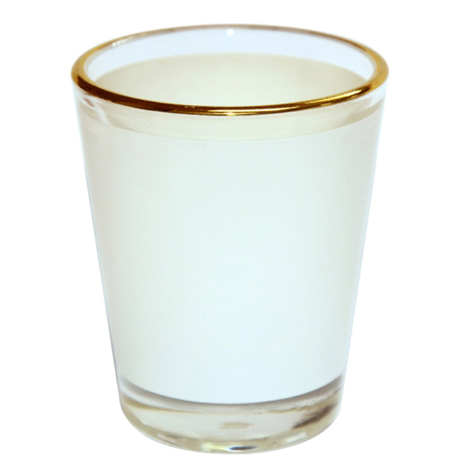 Sample-1.5 OZ Shot Wine Glass Cup with Golden Rim for Subliamtion Printing