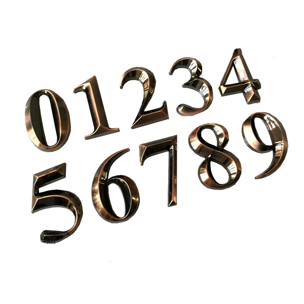 Modern House Plaque Bronze Plating Numbers, Building Floor Numbers (Several Sizes Available)