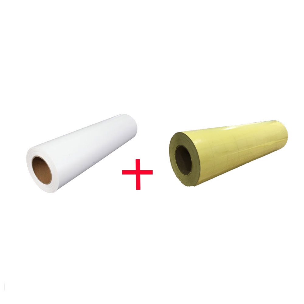 """US Stock, 1 Roll White Color Eco-Solvent Printable Heat Transfer Vinyl with 1 Roll Application Tape 23.6"""" X 5 Yard"""