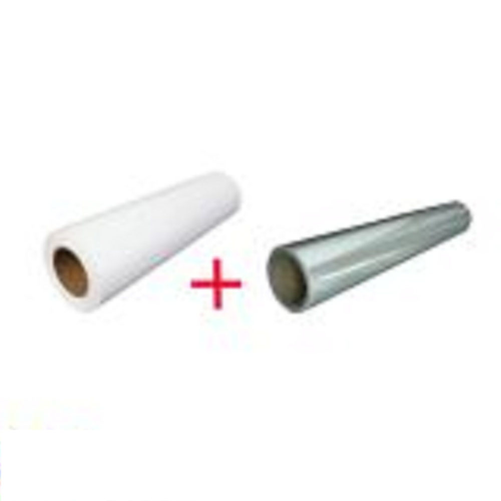 """US Stock, 1 Roll White Color Eco-Solvent Printable Heat Transfer Vinyl with 1 Roll Application Tape 29"""" X 5 Yard"""