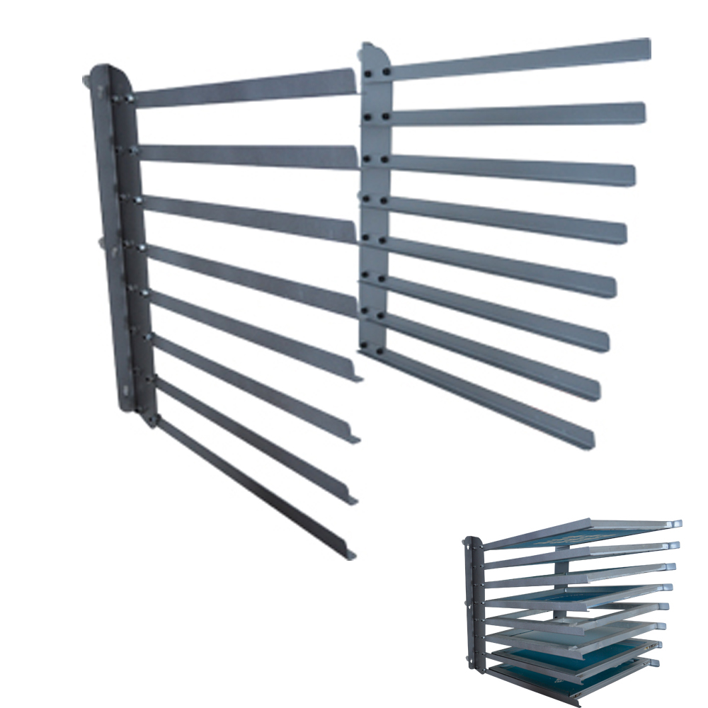 US Stock, Wall Fixed 8 Layers Screen Printing Shop Rack / Cart / Storage / Holder / Frame