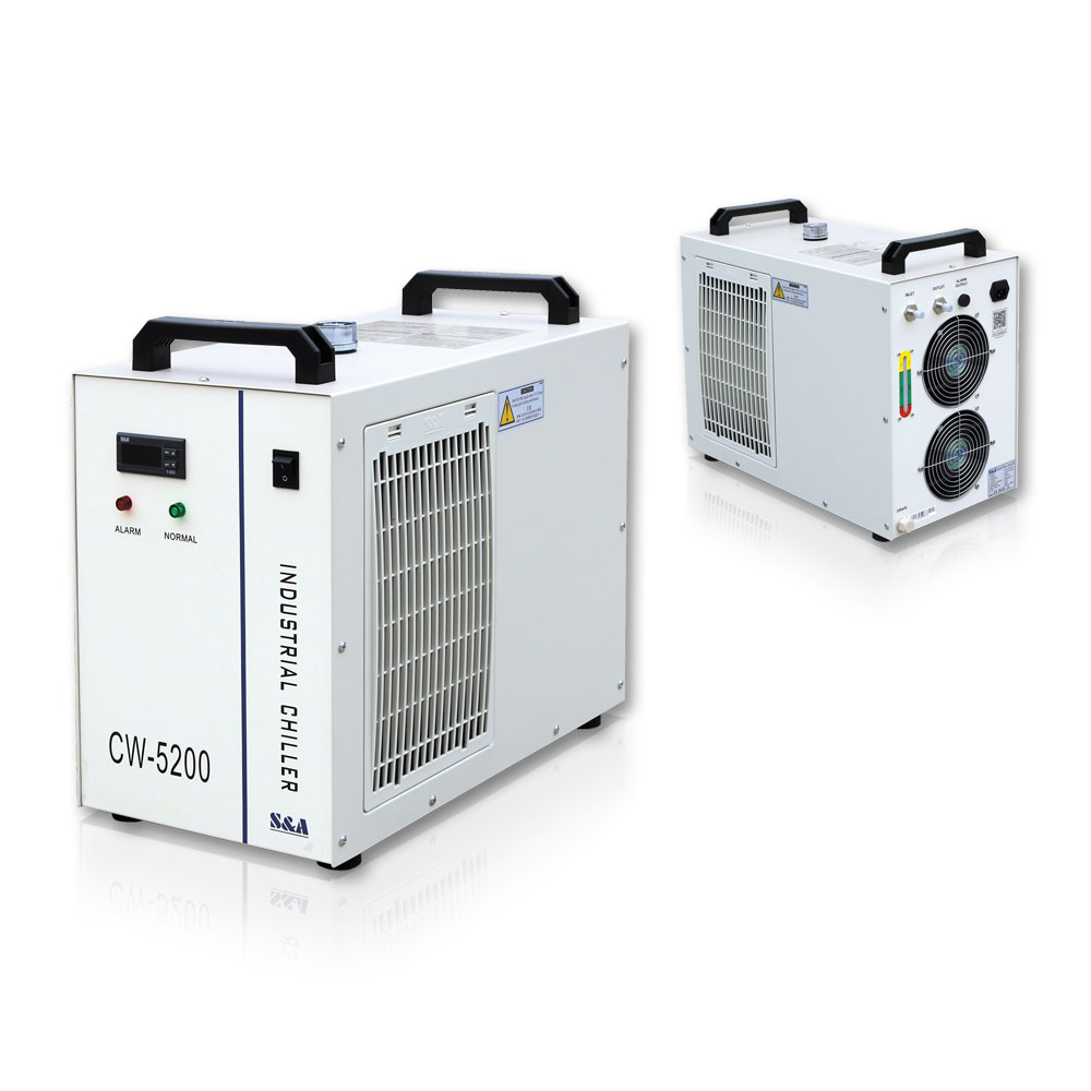 S&A CW-5200DH Industrial Water Chiller (AC 1P 110V 60Hz) for One 8KW Spindle / Welding Equipment / One 130-150W CO2 Glass Laser Tube Cooling, 0.93HP