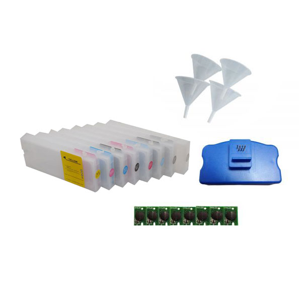 Combo Epson Stylus Pro  7800 / 9800 Refill Ink Cartridges 8pcs / set, with 4 Funnels, 8 Chips and 1 Chip Resetter