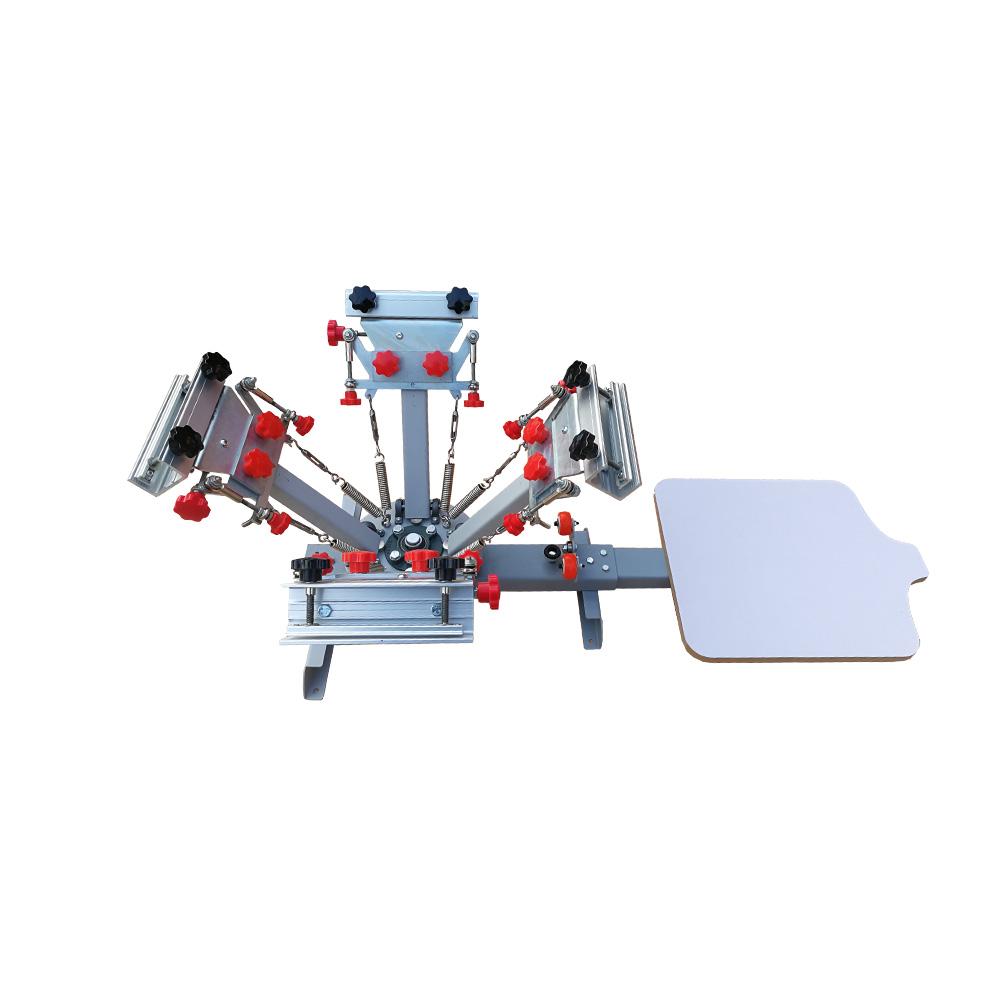 US Stock, 4 Color 1 Station Silk Screen Printing Press Machine with Micro Registration