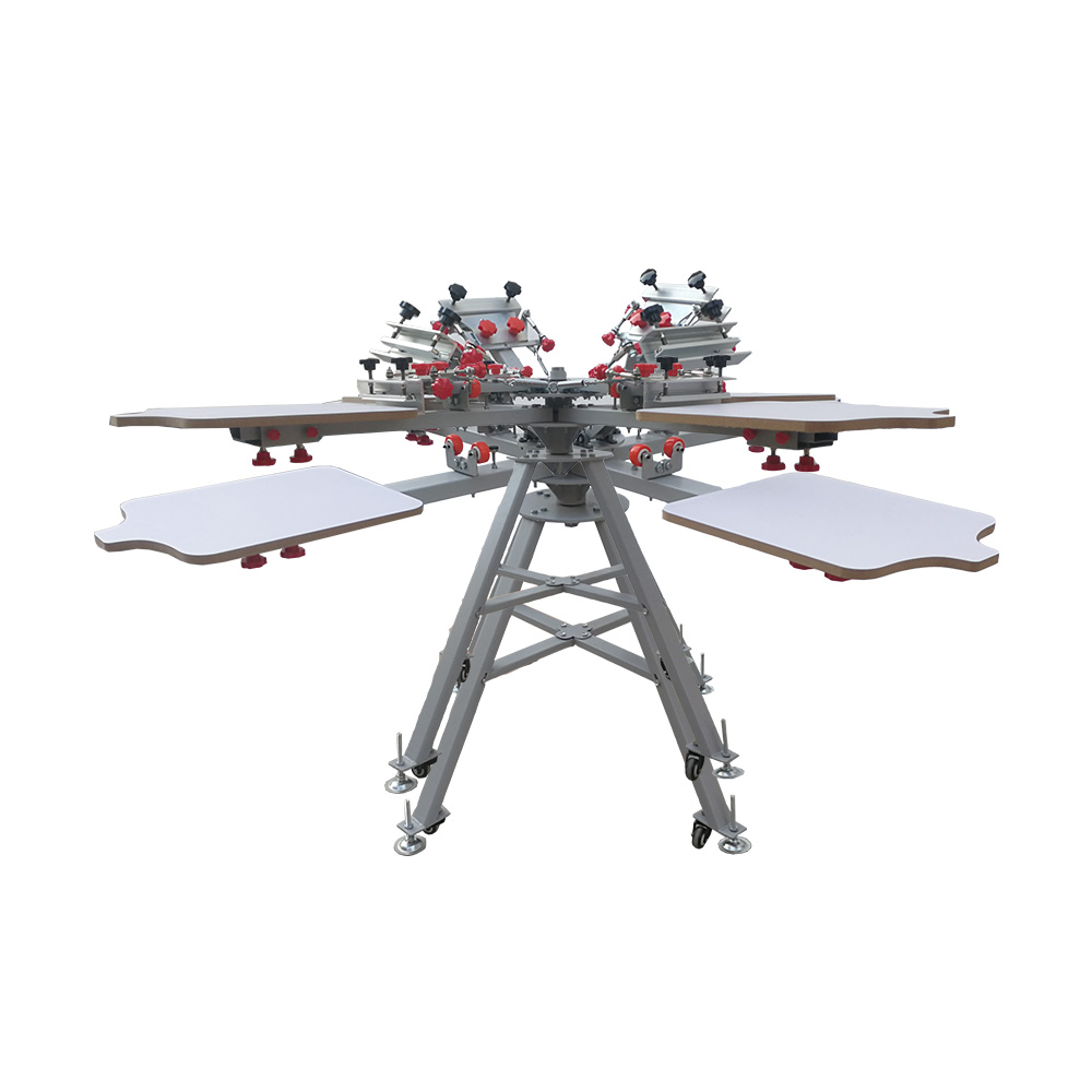 US Stock, 4 Color 4 Station Silk Screen Printing Press Machine with Micro Registration