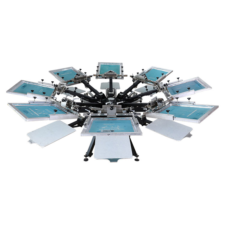 US Stock,CALCA  8 Color 8 Station Manual Screen Printing Press, with Micro Registration