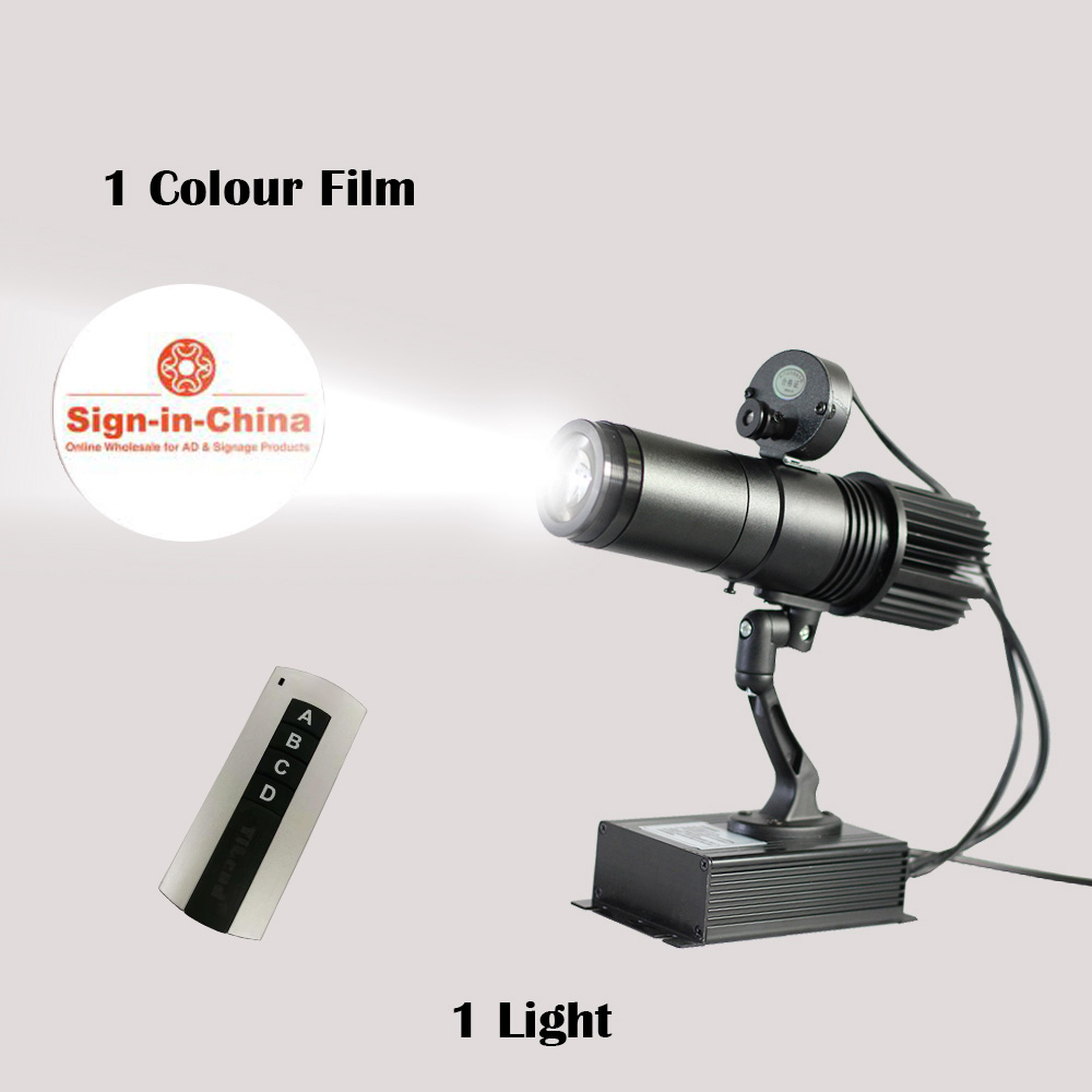 Australia Stock, 20W Indoor Black Remote Control LED Gobo Projector Advertising Logo Light (with Custom Rotating Glass Gobos)