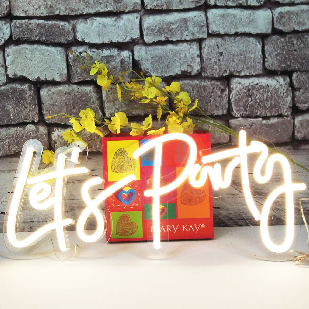 Qomolangma LED Neon Sign Let´s Party Sign Size- 23X10inches