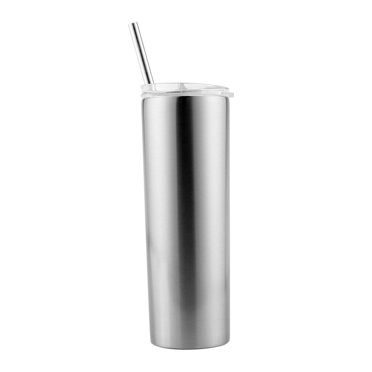 US Stock-CALCA 10pcs 20oz Sublimation Blank Silver Skinny Tumbler Stainless Steel Insulated Water Bottle Double Wall Vacuum Travel Cup With Sealed Lid and Straw
