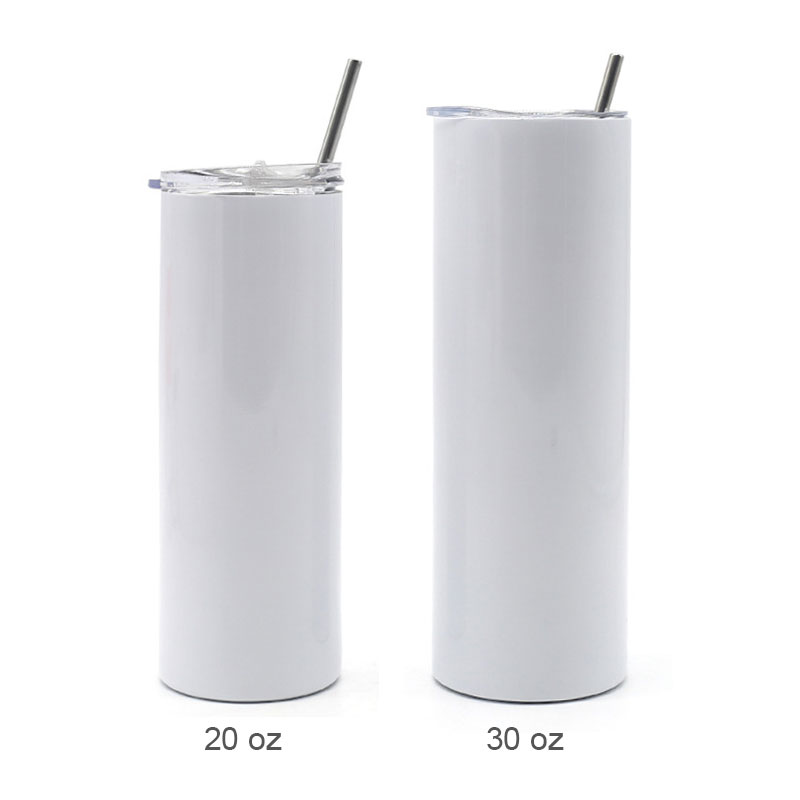30pcs 30oz Sublimation Blank White Skinny Tumbler Stainless Steel Insulated Water Bottle Double Wall Vacuum Travel Cup With Sealed Lid and Straw