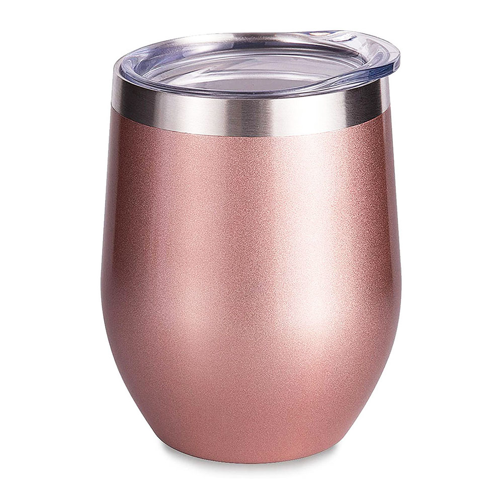 6PCS 12oz Rose Gold Stainless Steel Red Wine Tumbler Mugs with Sublimation Coating and Direct Drinking Lid