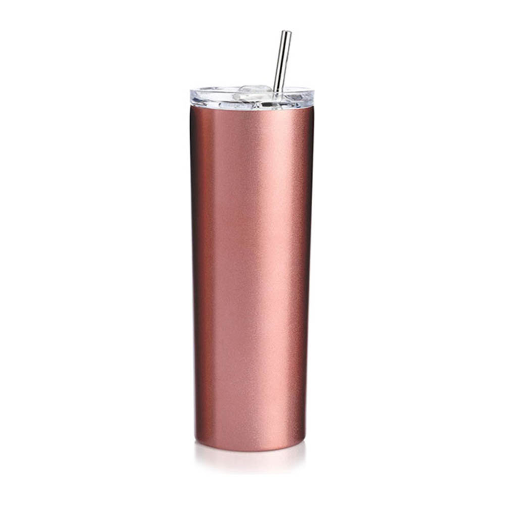 20oz Sublimation Blank Skinny Tumbler Stainless Steel Insulated Water Bottle Double Wall Vacuum Travel Cup With Sealed Lid and Straw (Rose Gold)