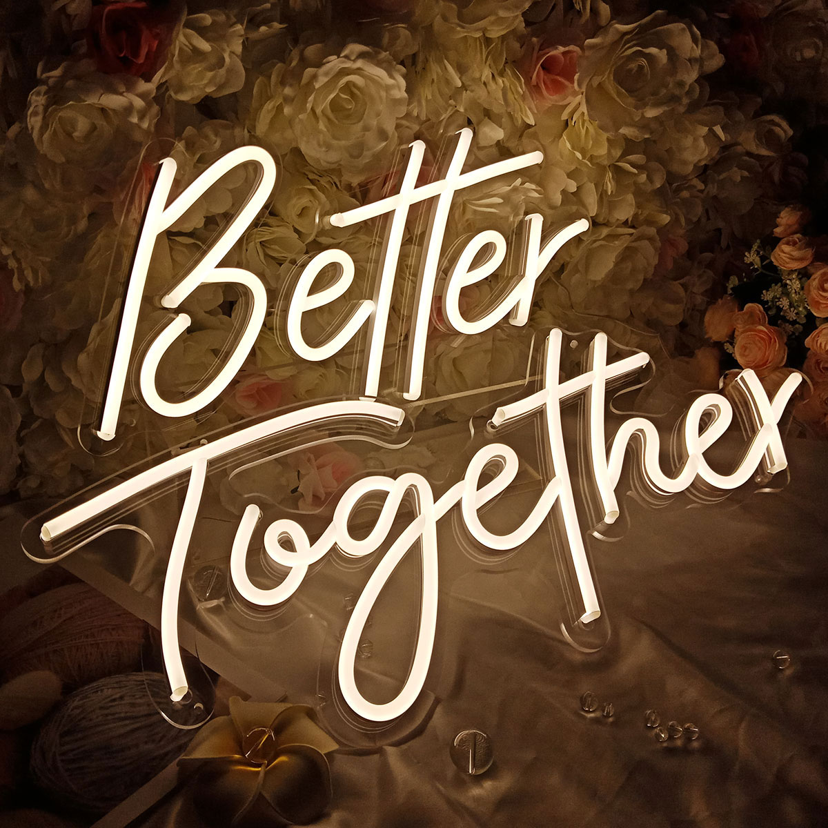US Stock CALCA Warm White Better Together Neon Sign Size-23.5x10inches+17.3 x8.7inches